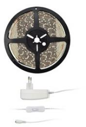 Solight LED svìtelný pás s testrem, 5m, sada s 12V adaptérem, 4,8W/m, IP20, teplá bílá