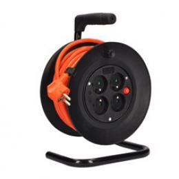 Solight prodlužovací pøívod na bubnu, 4 zásuvky, oranžový kabel, 15m