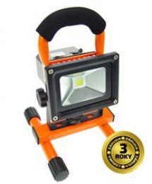 Solight LED reflektor 10W, pøenosný, nabíjecí, 700lm, oranžovo-èerný, WM-10W-DE