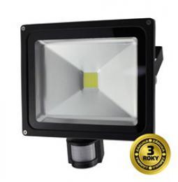 Solight LED venkovní reflektor, 30W, 2400lm, AC 230V, èerná, se senzorem, WM-30WS-E