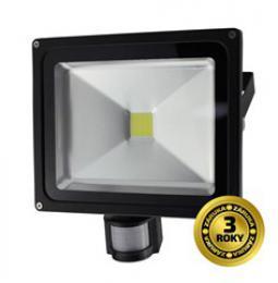Solight LED venkovní reflektor, 50W, 3500lm, AC 230V, èerná, se senzorem, WM-50WS-E