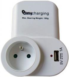 Solight USB nabíjecí adaptér s prùbìžnou zásuvkou, 1000mA, držák na telefon, bílý, DC23