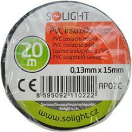 Solight izolaèní páska, 15mm x 0,13mm x 20m, èerná, AP02C