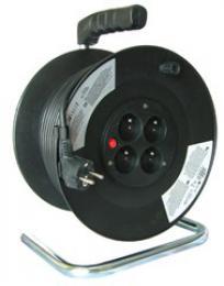 Solight prodlužovací pøívod na bubnu, 4 zásuvky, èerný, 25m, PB01
