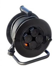 Solight prodlužovací pøívod na bubnu, venkovní, 4 zásuvky, èerný, 25m, PB33