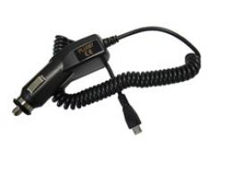 Solight USB nabíjecí autoadaptér, integrovaný kabel micro USB, 1500mA, DC 12-24V, èerný, DC33