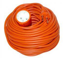 Solight prodlužovací kabel - spojka, 1 zásuvka, oranžová, plochá, 20m, PS27