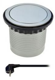 Prodlužovací pøívod, 4 zásuvky, støíbrný, 1,5m, výsuvný blok zásuvek, kruhový tvar, Solight PP100
