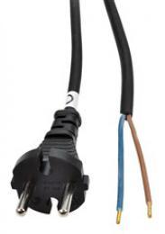 Solight flexo šòùra, 2x 1,5mm2, gumová, èerná, 2,5m, PF32