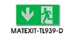 PIKTOGRAM šipka dolù, MATEXIT-TL939-D, Plastová etiketa EXIT k TL939, dolù