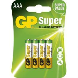Alkalická baterie GP Super LR03 4 ks (AAA), blistr, 1013114000 (B1311)