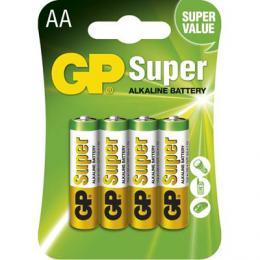 Alkalická baterie GP Super LR6 4 ks (AA), blistr, 1013214000 (B1321)
