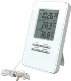 Teplomìr, teplota, velký displej, datum, èas, bílý, Solight TE09