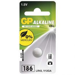 Alkalická knoflíková baterie GP LR43 (186F), blistr, B13861