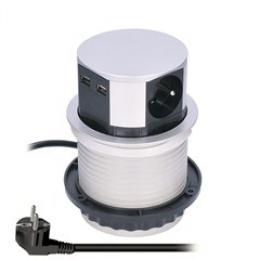 Solight výsuvný blok zásuvek, 3 zásuvky, 2x USB, kruhový tvar nízký, prodlužovací pøívod 1,5m, 3 x 1mm2, støíbrný, PP100USB