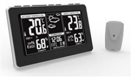 Solight meteostanice, extra velký LCD displej, teplota, vlhkost, RCC, èerná, støíbrná, teplotní alarm, TE82