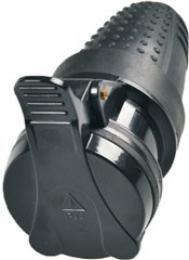 Solight zásuvka gumová, do vlhka, pøímá, IP44, èerná, P77