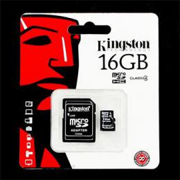 Pamì�ová karta microSDHC 16GB Kingston Class 4 w/a (EU Blister)