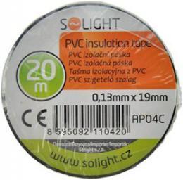 Solight izolaèní páska, 19mm x 0,13mm x 20m, èerná, AP04C