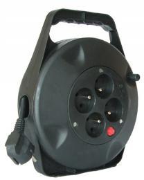 Solight prodlužovací pøívod na bubnu, 4 zásuvky, èerný, 10m, PB21