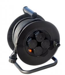 Solight prodlužovací pøívod na bubnu, venkovní, 4 zásuvky, èerný, 50m, PB34