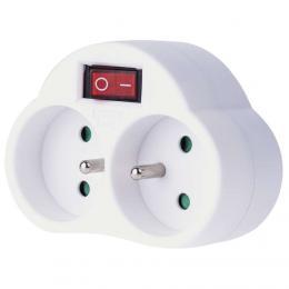 Zásuvka rozboèovací 2x kulatá s vypínaèem, bílá, P0062 EMOS 1905120000