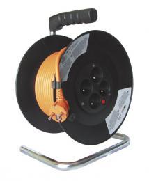 Solight prodlužovací pøívod na bubnu, 4 zásuvky, oranžový kabel, èerný buben, 20m, PB09