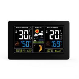 Solight meteostanice, extra velký barevný LCD, teplota, vlhkost, tlak, RCC, USb nabíjení, èerná, TE81