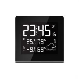Solight meteostanice, velký LCD s volitelnou barvou podsvícení, vnitøní/venkovní teplota, vlhkost, RCC, èerná, TE86