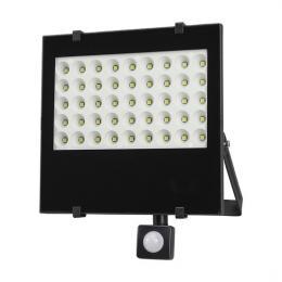 LED venkovní reflektor, 50W, 4250lm, AC 230V, se senzorem, èerná, Solight WM-50WS-F