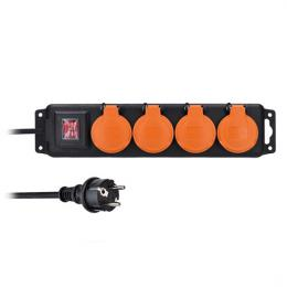 Prodlužovací pøívod IP44, 4 zásuvky, gumový kabel, vypínaè, venkovní, 10m, Solight PP334