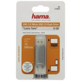 Flash disk Hama flashPen Laeta Twin 8 GB 10 MB/s, šedá