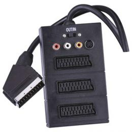 AV kabel SCART - 3x SCART + 3x CINCH + 1x SVHS 0,5m, EMOS SB2300