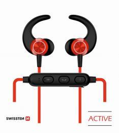 Bezdrátová stereo sluchátka Bluetooth Swissten Active èervené