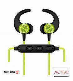 Bezdrátová stereo sluchátka Bluetooth Swissten Active limetkové - zvìtšit obrázek