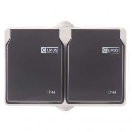 Zásuvka nástìnná dvojitá 16A/250V IP44, EMOS A1397.1