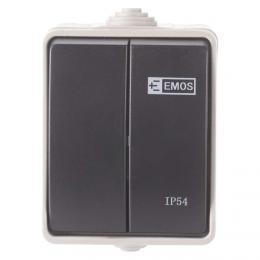 Pøepínaè 250 V/10 AX IP54 2 tlaèítka, EMOS A1398.1