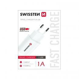 Sí�ový adaptér Swissten na USB 1A power bílá