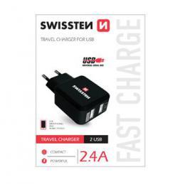 Sí�ový adaptér Swissten 2x USB 2,4A power èerný, 22013200