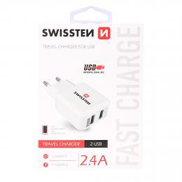 Sí�ový adaptér Swissten 2x USB 2,4A power bílý, 22013300