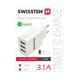 Sí�ový adaptér Swissten Smart IC 3x USB 3,1A power bílý, 22013303