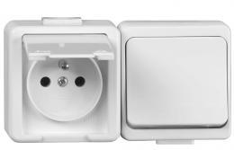 Spínaè jednopólový s podsvícením s jednonásobnou zásuvkou 2P+PE na povrch JANTAR VP 1/S+ZA-16, Greenlux GXNP011 - zvìtšit obrázek