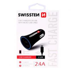 CL adaptér Swissten 2,4A Power 2x USB  + kabel micro USB