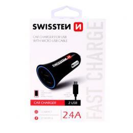 CL adaptér Swissten 2,4A Power 2x USB  + kabel micro USB, 20110900