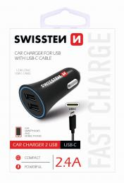 CL adaptér Swissten 2,4A Power 2x USB + kabel USB-C