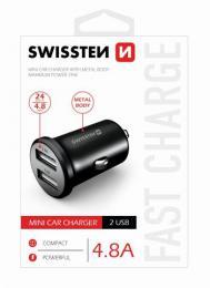 CL adaptér Swissten 2x USB 4,8A metal èerný