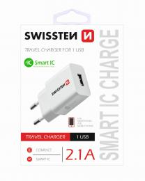 Sí�ový adaptér Swissten Smart IC 1x USB 2,1A Power bílý