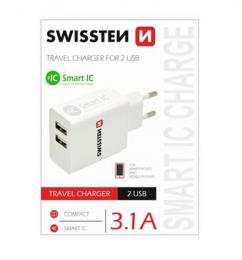Sí�ový adaptér Swissten Smart IC 2x USB 3,1A Power bílý, 22013307
