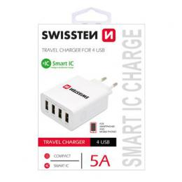 Sí�ový adapter Swissten Smart IC 4x USB 5A Power bílý