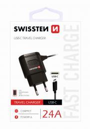 Sí�ová nabíjeèka Swissten USB-C 2,4A Power èerná
